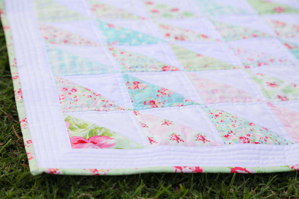 Rosey Half Square Triangle Quilt 187 Loganberry Handmade