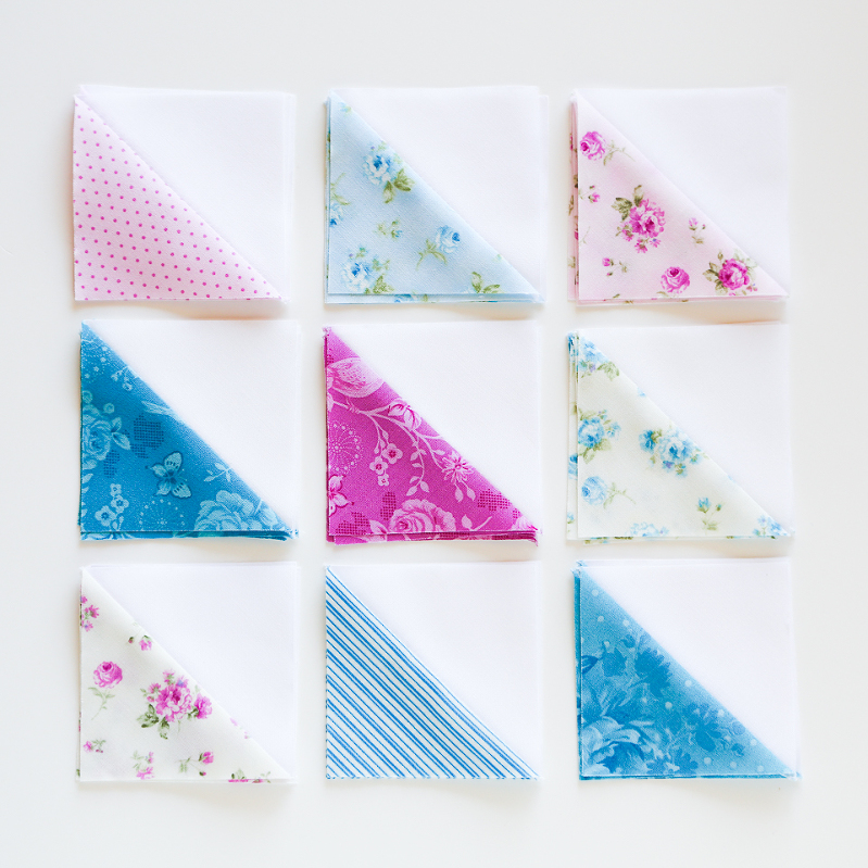 half square triangles, quilting with HST, HST quilt, mini charm squares quilt, eleanor burns quilt, quilts with diamonds, quilts for girls, mini quilts, floral mini quilts, purple quilts, blue quilts