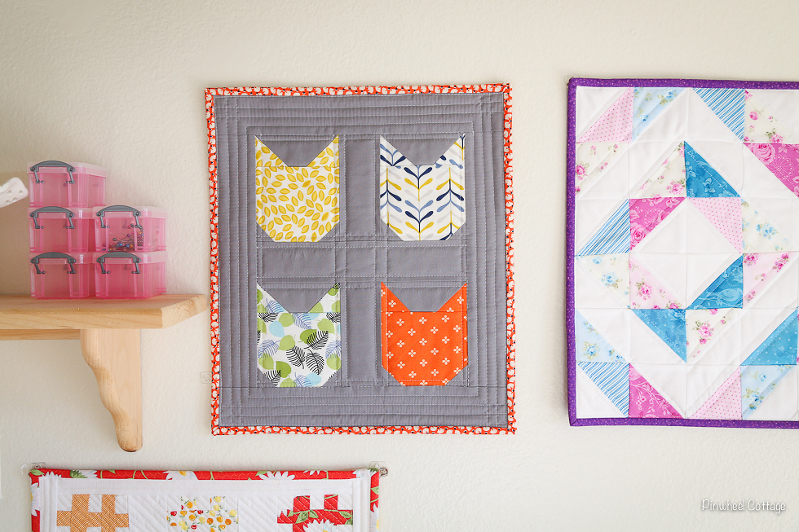 Sewing Room, mini quilts, mini quilt wall, cats on quilts, cat quilt, cloud 9 fabrics quilt, vintage quilt