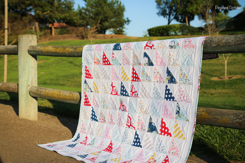 Wiltshire Daisy Quilt, floral quilts, polka dot quilt, feminine quilts, quilts for girls, half square triangle quilt, quilting with HST, fat quarter quilts, charm square quilts