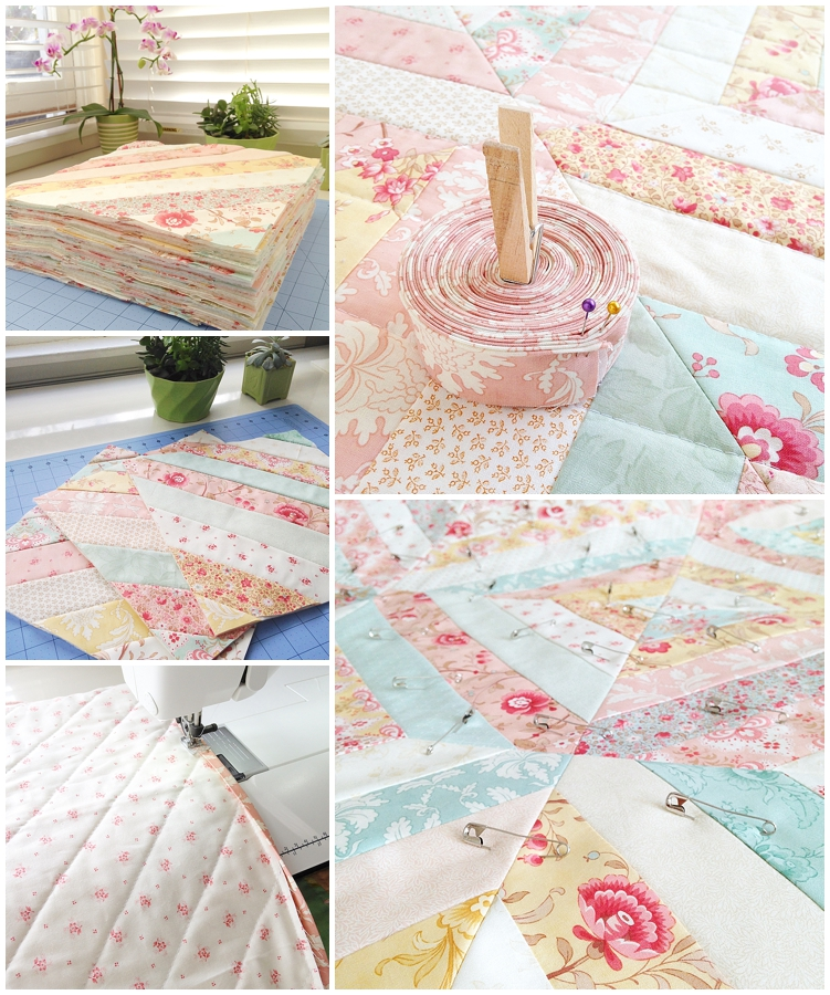 custom quilt, Printemps Quilt, Three Sisters quilt, jelly roll quilt, quilt with jelly strips, precut fabrics quilt, floral quilt, feminine quilt, quilts for girls, pink quilt, vintage quilt, antique quilt, quilt as you go, shirtings fabric quilt, quilt binding