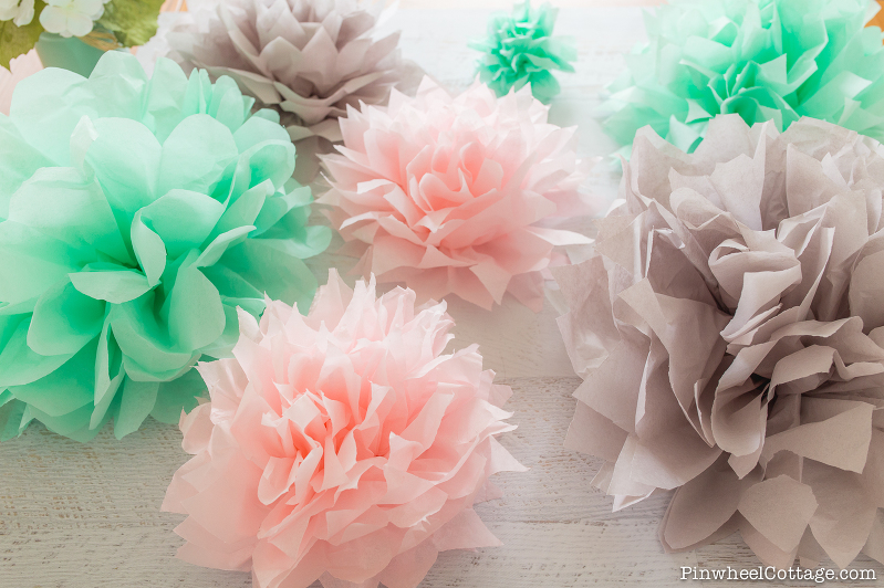 How to make tissue paper pom poms-3