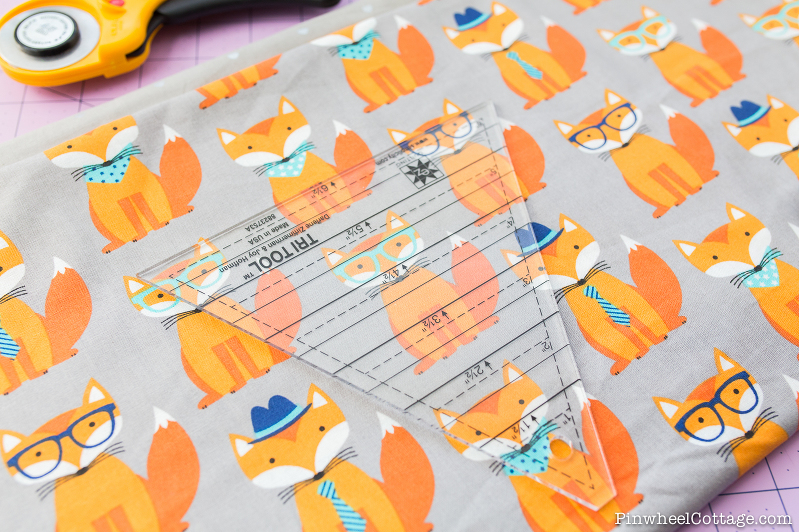Little Foxes with glasses, hats, and bandanas, bunting banner tutorial, free sewing pattern, how to make bunting banners