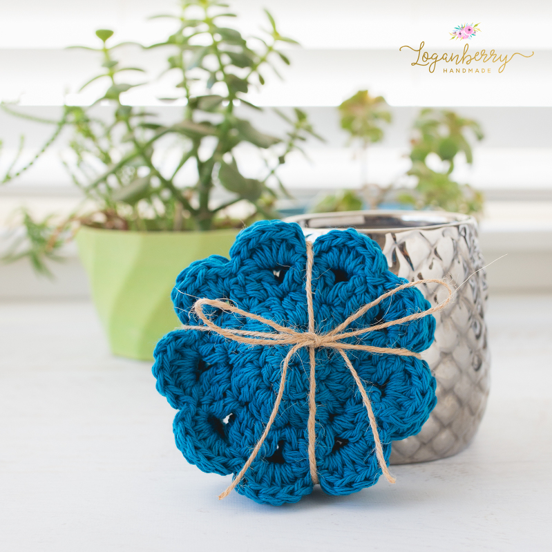 Flower motif coasters free crochet pattern loganberry handmade heres the pattern so you can make them too i used 100 cotton yarns for these crochet hook size h dt1010fo