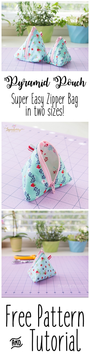 Pyramid Pouch Sewing Tutorial + Free Pattern, triangle zipper bag, small zipper pouch, coin purse, easy sewing projects
