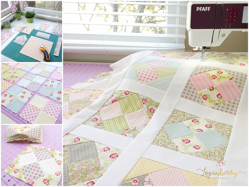 ambleside quilt, spring picnic quilt, layer cake quilt, floral quilts, quilts with flowers, 4-patch quilt, four patch quilts, traditional quilt pattern designs, feminine quilt