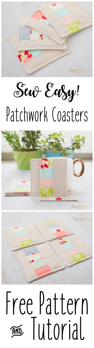 Fabric Coasters Sewing + Tutorial + Free Pattern, Patchwork Coasters, Linen Coasters, Zakka Sewing Projects, Sewing for the home, DIY Sewing Small, Mini Quilt Projects