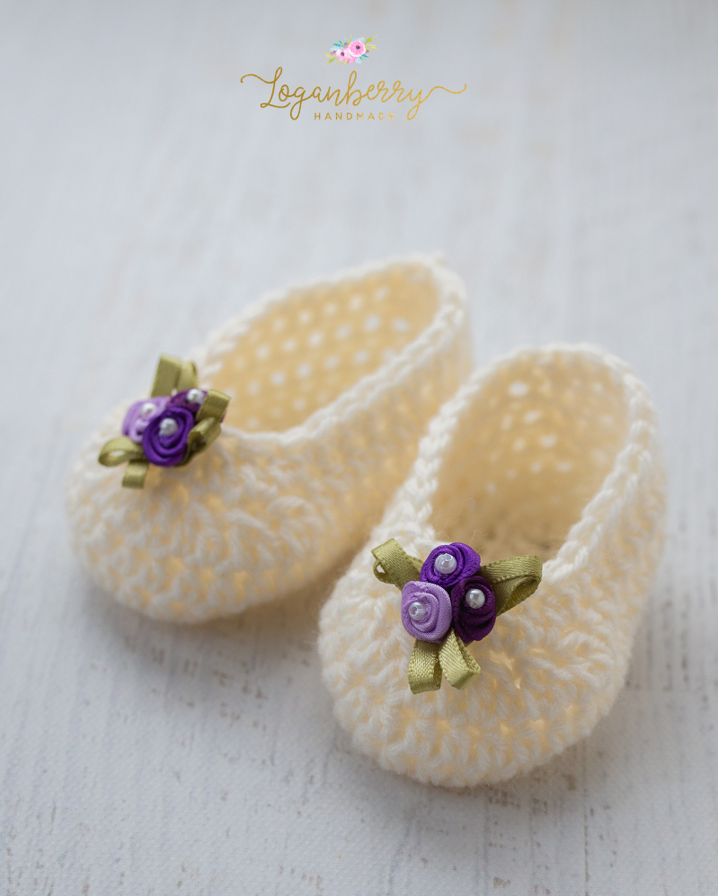 Simple Sweet Baby Slippers Free Crochet Pattern Loganberry