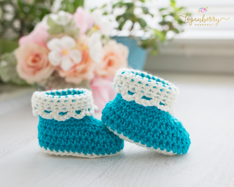 LaceTrim Baby Booties Free Crochet Pattern Loganberry Handmade Inspiration Free Crochet Patterns For Baby Booties