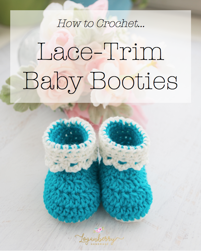 LaceTrim Baby Booties Free Crochet Pattern Loganberry Handmade Cool Crochet Baby Booties Pattern Step By Step