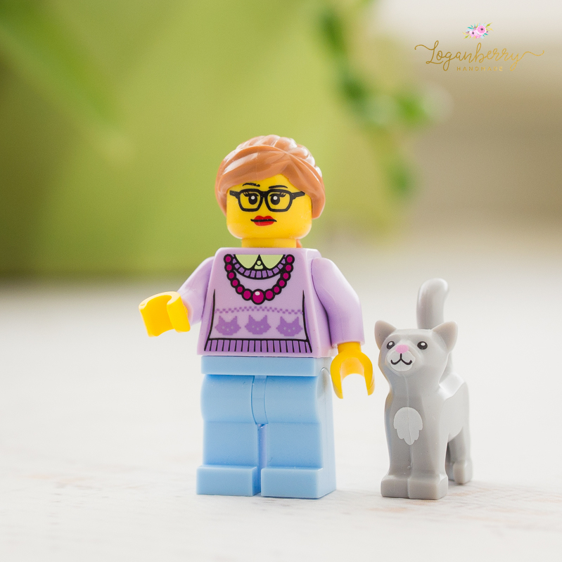 lego cat lady, catlady, lego cat, lego woman and cat, cat sweater, cat mom, legos