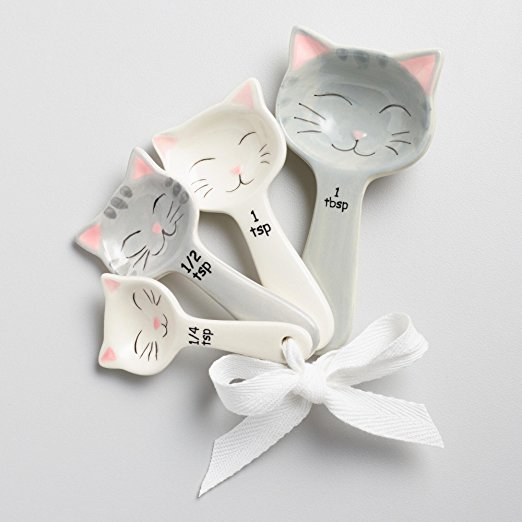 Cat Ceramic Nested Measuring Cups and Matching Ceramic Measuring Spoon set, White and Gary Color, cat bowls, cat spoons, cat decor