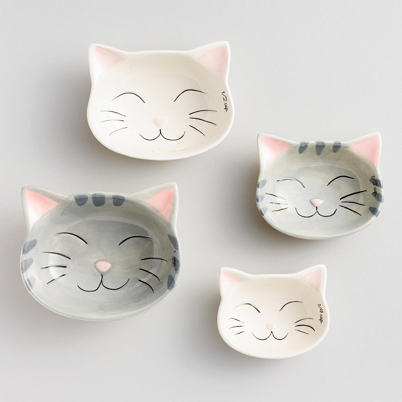 Cat Measuring Cups, ceramic cat bowls, cat nesting bowls, cat cups, cute cat plates
