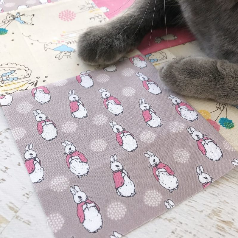 peter rabbit fabric, mrs. rabbit, cats and quilting, cats on quilts, cat peets, cat paws, cats and sewing