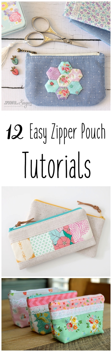 12 Easy Zipper Pouch Sewing Tutorials + Free Pattern