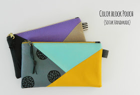 Color Block Pouch Tutorial + Free Sewing Pattern, DIY, patchwork zipper bag, make-up bag, travel bag, easy sewing projects