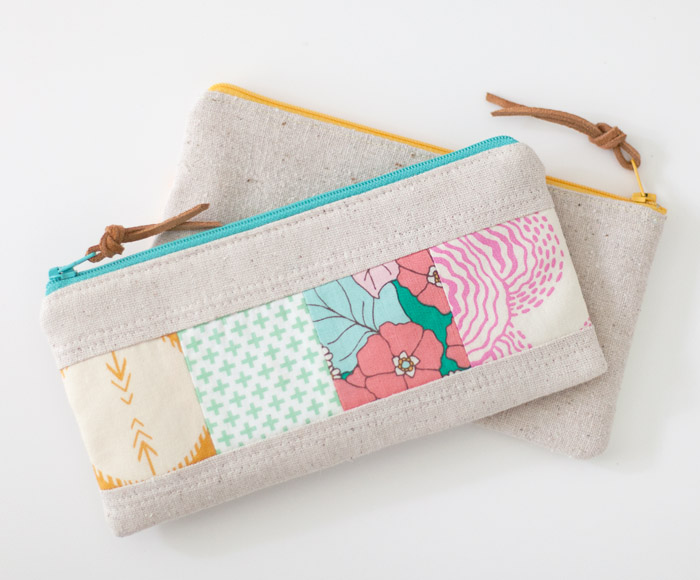Pencil Zipper Pouch Tutorial + Free Sewing Pattern, DIY, patchwork zipper bag, make-up bag, travel bag, easy sewing projects