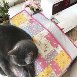 cats on blankets, cats on quilts, cats and quilting, cats and sewing, peter rabbit quilt fabric