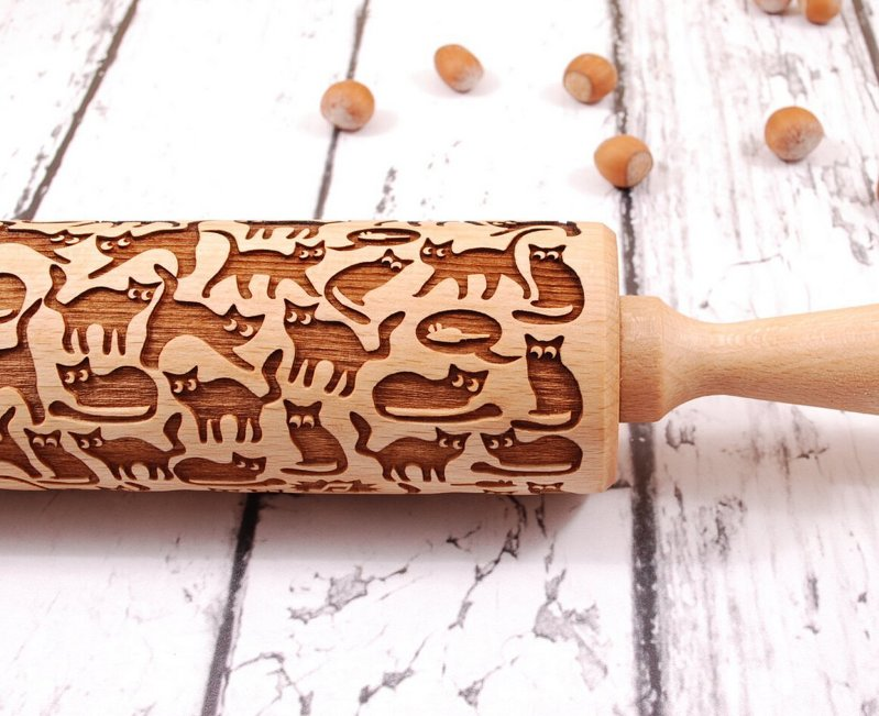 Cat Rolling Pin, Embosser, Cat Cooking Maker, Cat Impression, Cat Kitchenwares, Cat Stamps, Wooden Cats, Cat Cookies