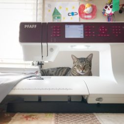 Cat + Sewing Machine, Pfaff Sewing, Kitty Quilter