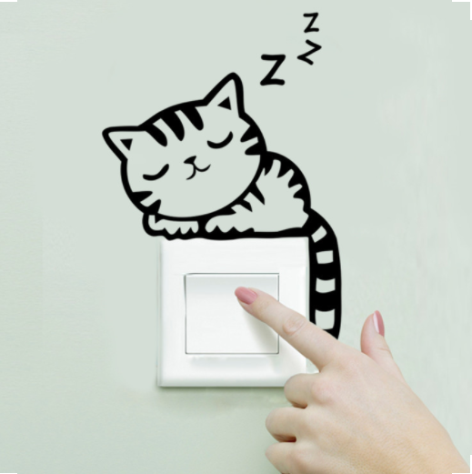 Sleeping Cat Light Switch Wall Sticker, Cat Nap Wall Vinyl Decal, Wall Decor, Light Switch Decoration, Home Decor, Cat Stickers, Bookshelf, Windowsill, Fireplace Cat