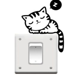 Sleeping Cat Light Switch Wall Sticker, Cat Nap Wall Vinyl Decal, Wall Decor, Light Switch Decoration, Home Decor, Cat Stickers