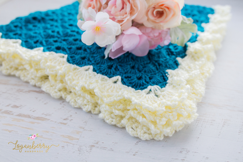 Antique Charm Crochet Blanket + Free Pattern + Tutorial, Crochet Baby Blanket Pattern, Crochet Shell Stitch Blanket Pattern, Fantail Pattern, Lace Trim Blanket Pattern, Lace Border, Victorian Style Baby Blanket, Teal Blue Blanket