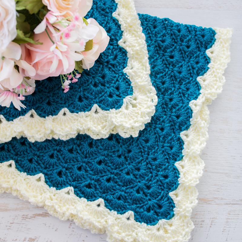 Antique Charm Crochet Blanket + Free Pattern + Tutorial, Crochet Baby Blanket Pattern, Crochet Shell Stitch Blanket Pattern, Fantail Pattern, Lace Trim Blanket Pattern, Lace Border, Victorian Style Baby Blanket, Teal Blue Blanket