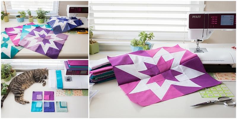 Aurora Borealis Quilt, Rainbow Quilt, Star Quilts, Negative Space, Square Quilt, Green + Teal + Purple Quilt, Patchwork, Squares, Modern Quilt
