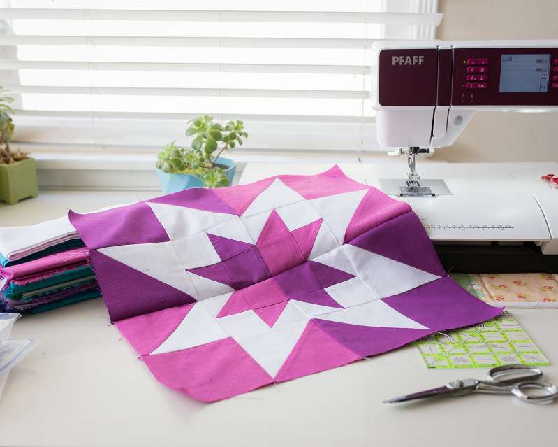 Quilt Star, Aurora Borealis Quilt, Star Quilt Block, Modern Quilt, Purple Star, Patchwork Block, Quilting, Sewing