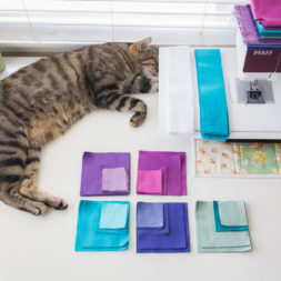 Cat + Sewing, Cat nap, cats and quilting, cat patchwork pieces