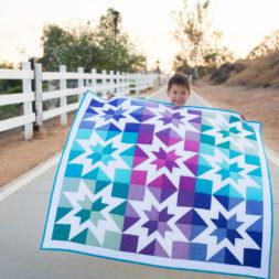 Aurora Borealis Quilt, Modern Stars Quilt, Negative Space Quilt, Rainbow Quilt, Negative Setting, Quilt Model, Blue and Purple Quilt, 9-patch quilt