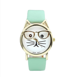 Cat Wrist Watch, Cat Quartz, Cat Analog Quartz, Cat Face Clock, Cat with Glasses, Wristlet, Cat Time Machine, Cat Watch Band, Hipster Watch, Cat Fashion Accessories, Cat Gold Watch