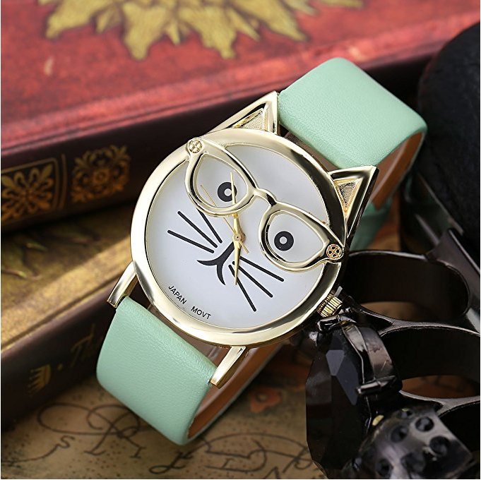 Cat Wrist Watch, Cat Quartz, Cat Analog Quartz, Cat Face Clock, Cat with Glasses, Wristlet, Cat Time Machine, Cat Watch Band, Hipster Watch, Cat Fashion Accessories, Cat Gold Watch